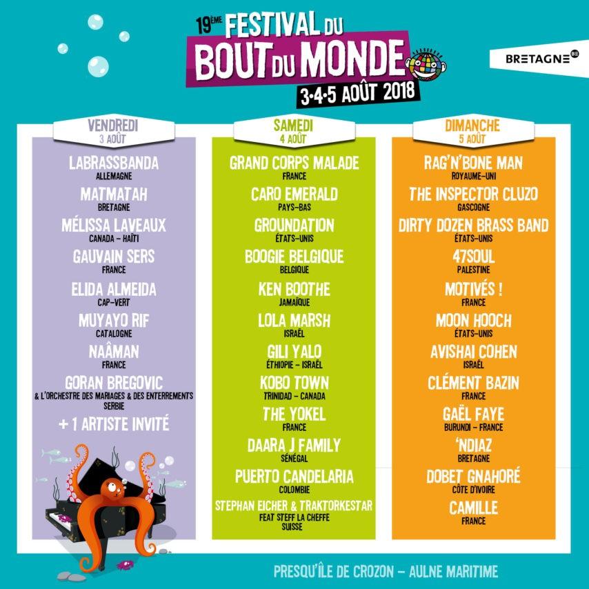 Festival du Bout du Monde 2018 - Affiche