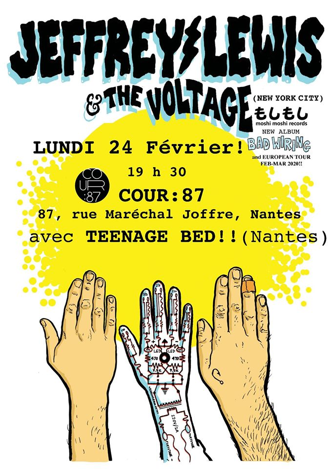 Affiche Jeffrey Lewis & Teenage Bed au Cour 87 @JeffreyLewis
