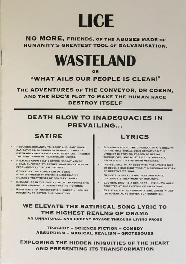 Pamphlet illustrant l'album Wasteland